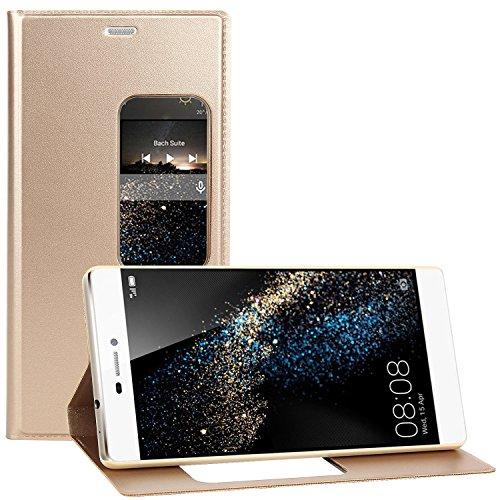 Huawei P8 Hülle , EnGive Qualität PU Flip Case / Hülle / Ledertasche / Tasche/ Schutzhü lle Für Huawei P8 Smartphone (Huawei P8, Gold)