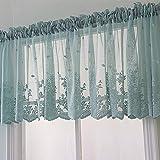 1 Stück Küchengardine mit Spitze, bestickt mit Blumenmuster, halbtransparent, für Küche, Badezimmer, Wohnzimmer, Café, blau, 74x61cm