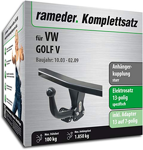 Rameder Komplettsatz, Anhängerkupplung starr + 13pol Elektrik für VW Golf V (113020-04991-3)