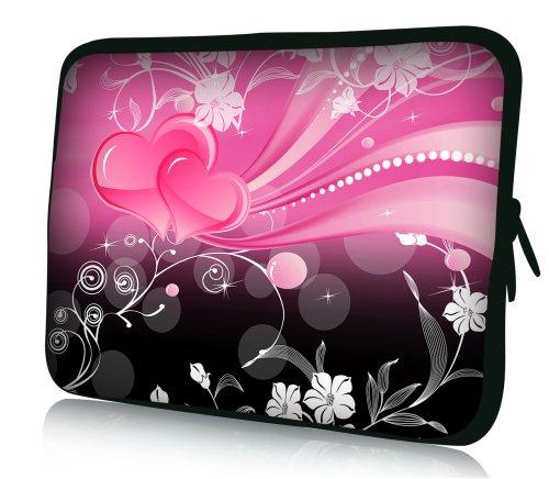 wortek Universal Notebooktasche Sleeve aus Neopren für Laptop bis ca. 10,2 Zoll - Schwarz Pink Weiß Ranke