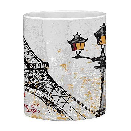 Bleifreie Keramik Kaffeetasse Teetasse Weiß Paris Dekor 11 Unzen Lustige Kaffeetasse Grunge Illustration von Eiffel mit Laternen Europäische Lifestyle Kultur Artwork Print Rot Schwarz Yello