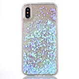 iPhone X Case [With Free Tempered Glass Screen Protector],Mo-Beauty® Flowing Liquid Floating Flowing Bling Shiny Sparkle Glitter Crystal Clear Plastic Hard Case Protective Shell Case Cover For Apple iPhone X/iPhone 10 (2017 Release) (Blue)