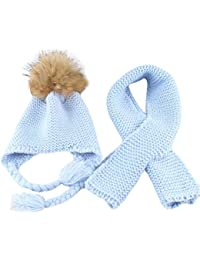 Conjunto de gorro y bufanda de invierno para niños de Ying, para niños pequeños Cálido, para niños, piel de mapache, pompones, gorro de punto, gorro y bufanda