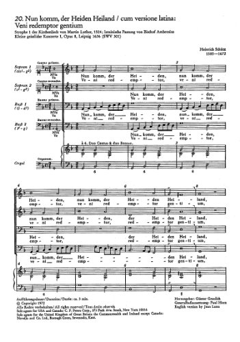 Schütz: Nun komm, der Heiden Heiland (SWV 301 (op. 8 no. 20)). Partitur