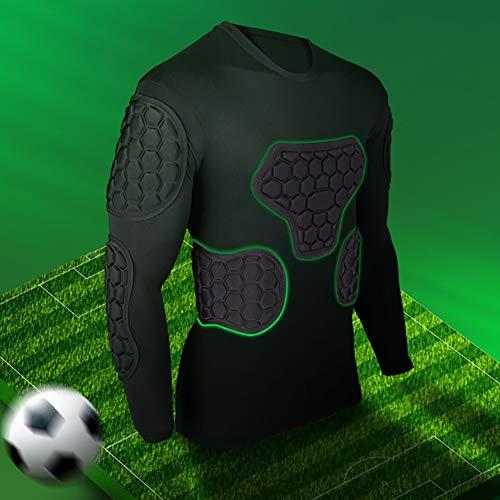 LXC Antikollisions Herren Rugby Gepolstertes Kompressions T-Shirt Für Brustkorb Schulterprotektor (Color : Black, Size : M)