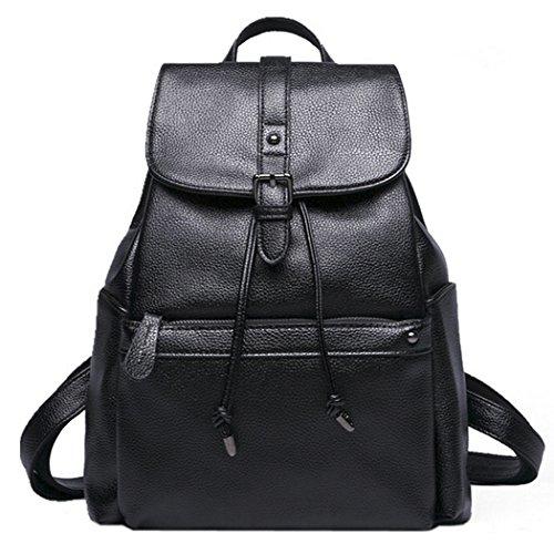 Damen Rucksack, COOFIT Leder Rucksack für Mädchen Schultasche Rucksack Schwarz Leder Daypacks Für Outdoor Sports (Schwarz)