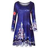 OSYARD Weihnachts Pullover Kleid Damen,Christmas Dress Mädchen, Frauen Langarm Weihnachten Printing A-Linie Swing Kleid Vintage Rundhals Lose Party Dress Xmas Blusekleid (M, Dunkelblau)
