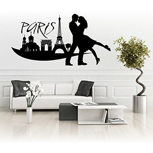 Aufkleber für Wände oder Autos tolle Skylines Paris Silhouette mit Liebespaar - Paris-wand-aufkleber