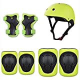Domc 7 Combinaisons De Protection pour Sports De Plein Air,Casque Cycliste Garçon Et Fille,Coussin De Sécurité [Genouillères Et Coudières Et Poignets] Scooter Scooter (3-8 Ans),Vert