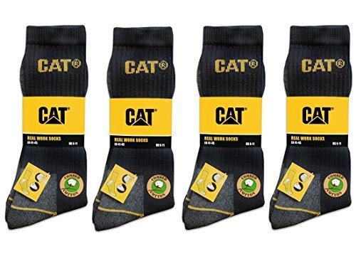 CAT Caterpillar 12 Paar Arbeitssocken, Schwarz - MEGA-Größenauswahl für ihre optimale Größenwahl - 35-40 | 39-42| 41-45 | 43-46 |...