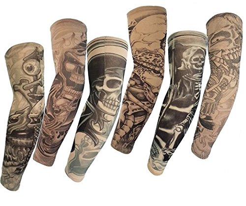 Autek Hot 2015 Hohe Qualität Los 6 PC Temporary Fake-Slip On Tattoo Sleeves Arm Kit M