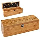 polar-effekt Personalisierte Holzbox mit Gravur - 5-teiliges Sommelier Set - Bambus Geschenkbox für Weinflasche – Weinkiste Geschenk zum Geburtstag – Motiv Poesie