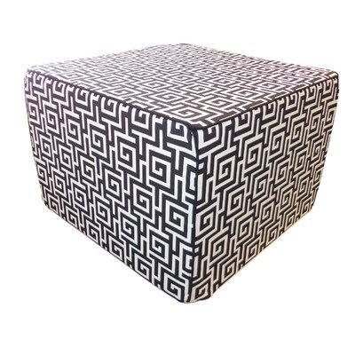 Jiti Puzzle Outdoor Square Polyester Ottoman, 22 by 22 by 15-Inch, Black