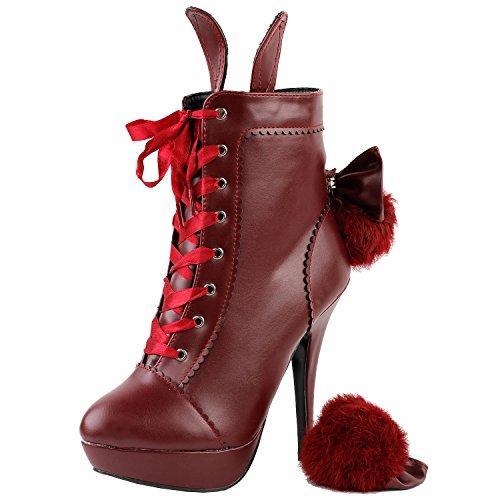 Visualizza storia Lolita stile coniglio pelliccia Bow Lace-Up a spillo Platform Ankle Boot Bootie, LF30311 Rosso