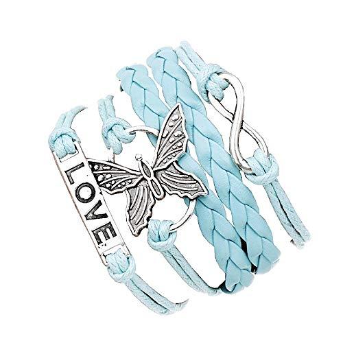 KIRALOVE Armband Spiritualität Unendliches Symbol Frau Schmetterling Geschenkidee Mädchen Doppelspitze Himmlische Farbe Liebe Geburtstag Schmuck Ihr Weihnachten Elegant