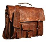 """krish 15 """"Vintage Messenger de piel Maletín de piel suave bolso bandolera para ordenador portátil de cuero Messenger Bag para hombres y mujeres"""