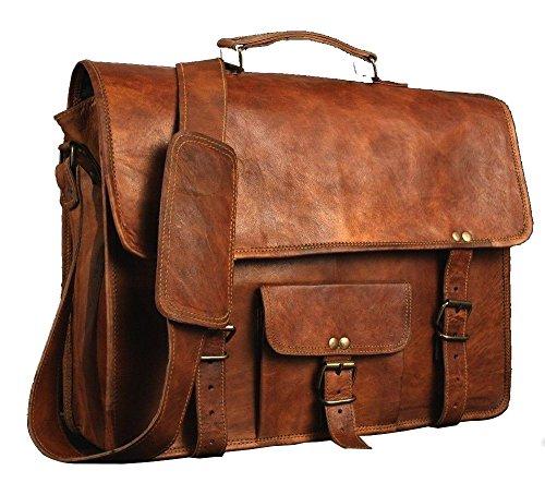 (Leather bag's house) Men's Genuine Vintage Brown Leather Messenger Bag Shoulder Laptop Bag Briefcase-, Model: , Gadget & Electronics Store (Bag Computer Briefcase)