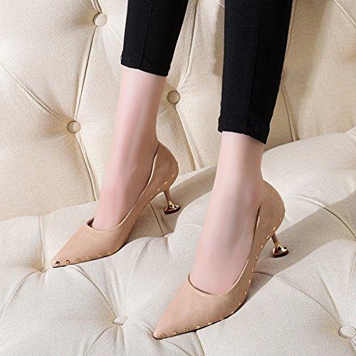 HWF Chaussures femme Printemps Pointu Chaussures à talons hauts Thin Heel Commuter Mid Heel Shallow Mouth Chaussures simples Chaussures femmes ( Couleur : Le jaune , taille : 35 ) Rose