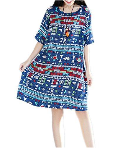 HGDRSpring Und Sommer Frauen Große Größe Lose Art Und Weise Kleid Blue