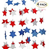 4th of July Decorations American Independence Day Patriotic Star Party Hanging Ornaments Set(4 Strings) by Leoie