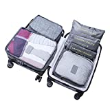 WOWTOY 6PCS Packing Cubes Value Set for Travel Luggage Organiser Bag Compression Pouches Clothes Suitcase, Grey