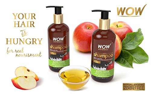 WOW Apple Cider Vinegar No Sulphate & Parabens Shampoo, 300ml