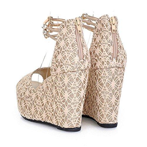 COOLCEPT Damen Mode Knochelriemchen Sandalen Hoch Keilabsatz Peep Toe Schuhe Mit Zipper Gr Beige