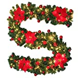 Surfmalleu Guirnalda de Navidad Decoración Led para Árbol Artificial Premium 270 cm con Ramas Desplegables de Púa de PVC 40 Luces (Rojo)