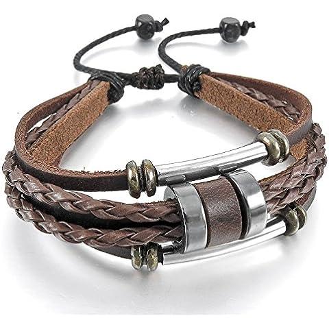 mendino para hombre Royal Manguito de piel auténtica marrón de aleación de joyería Silver Surfer Wrap ajustable pulseras