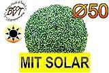 PREMIUM Buchs, Echtbaum-Optik, große Buchskugel Buxbaum Ø 50 cm, Durchmesser 500 mm grün dunkelgrün, robust und wetterfest, fertig montiert, auf Wunsch mit Solarbeleuchtung SOLAR LICHT BELEUCHTUNG (Zubehör) , ohne Terracotta Topf Plastik und stabilem Fuß (Zement) Kunstpflanzen stabile Dekobäumchen künstliche Bäume Bäumchen Kugel Buxbaumkugel + Solarlicht LED Lampe 2 Lampen Lichterbaum Kunstblume Außen- und Innendekoration Balkonsichtschutz Balkon Pflanzen Sichtschutz