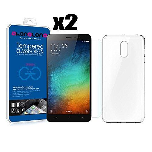 PACK AHORRO - Funda Silicona + 2 Protector de pantalla Cristal templado Premium para Xiaomi Redmi 4A