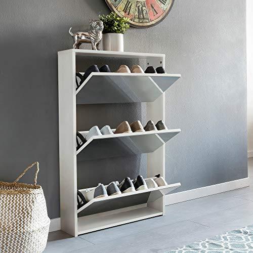 Ks-furniture niklas - scarpiera a 3 ante con specchio, 63 x 103 x 17 cm, in legno, colore: bianco