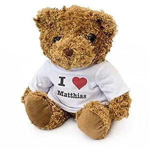 London Teddy Bears Oso de Peluche con Texto en inglés I Love Matthias, Bonito y Suave, Regalo de cumpleaños, San Valentín