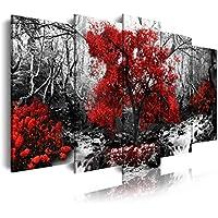 DEKOARTE 257 - Quadro moderno su tela montato su telaio in legno di 5 pezzi, natura paesaggio con albero rosso, 150x80cm