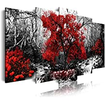 DekoArte 257 - Cuadro moderno en lienzo 5 piezas paisaje bosque con árbol rojo en fondo blanco y negro, 150x3x80cm