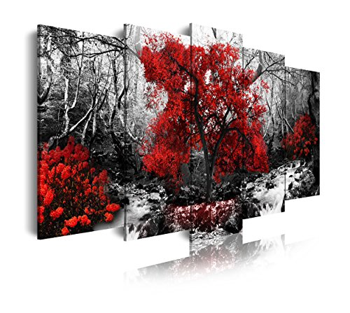 DekoArte 267 - Cuadro moderno en lienzo 5 piezas XXL paisaje bosque con árbol rojo en fondo blanco y negro, 200x3x100cm