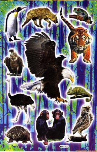 Affen Adler Pinguin Tiere Aufkleber 11-teilig 1 Blatt 270 mm x 180 mm Sticker Basteln Kinder Party