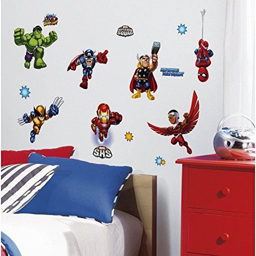 Marvel Superheld Comic-The Avengers X-Men Super Hero Squad Wandaufkleber-Spider Man, Schutzschale, Thor, Wolverine, Fantastic 4, Captain America, Hulk, Silver - Super Hero Squad Wolverine Kostüm