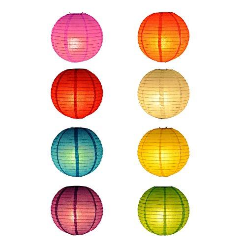 TSSS 8STK 12 Zoll Mehrfarbig Lampions aus Papier für Hochzeit Partei Dekoration Veranstaltung Feiern Fest (Papier Verstärkungen)