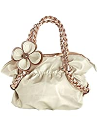 Generic Officewear Women's Stylish Casual 24 Ltr Leather Handbag With Knot Pattern Handle Cream Color