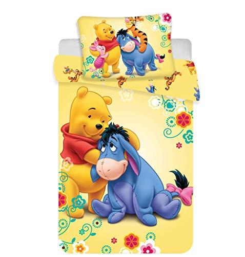 Arle-Living 3 TLG. Baby Bettwäsche Set mit Wende Motiv: Winnie Pooh mit Esel - 100x135 cm + 40x60 cm + 1 Spannbettlaken 70x140 cm (mit Laken: bleu)