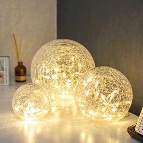 Set of 3 Battery Operated Crackled Glass Warm White LED Fairy Light Balls by Lights4fun