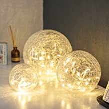 3er Set LED Glaskugeln Warmweiss Batteriebetrieben