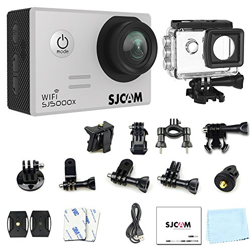 "SJCAM SJ5000X Elite Wifi Action Camera, 4k@24FPS Underwater Video Camera- Gyro Stabilization/2"" Large LCD Screen/SONY Sensor, 30M Waterproof with Case (Included)- Silver"
