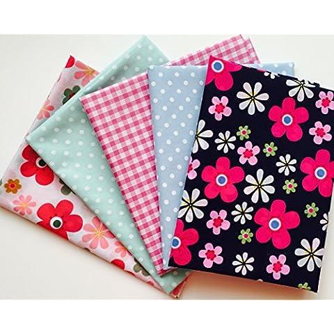 X 5mezzo metro a pois con motivo floreale di tessuto Bundle Gingham, motivi floreali, a pois, a pois in rosa, blu, verde, blu, Ideale per progetti, Quilting, Fat Quarters moda e artigianato–Semplicemente da cucire Crafty CR8Comercio