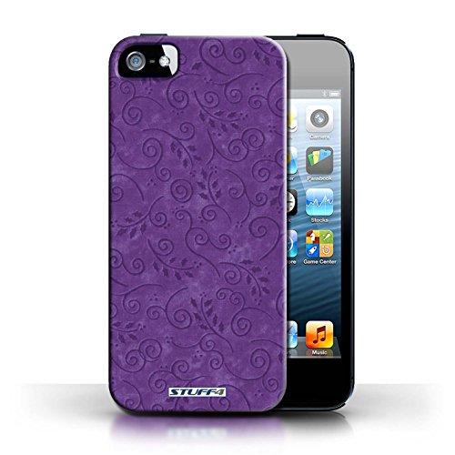 Kobalt® Imprimé Etui / Coque pour Apple iPhone 5/5S / Vert conception / Série Motif Feuille Remous Pourpre