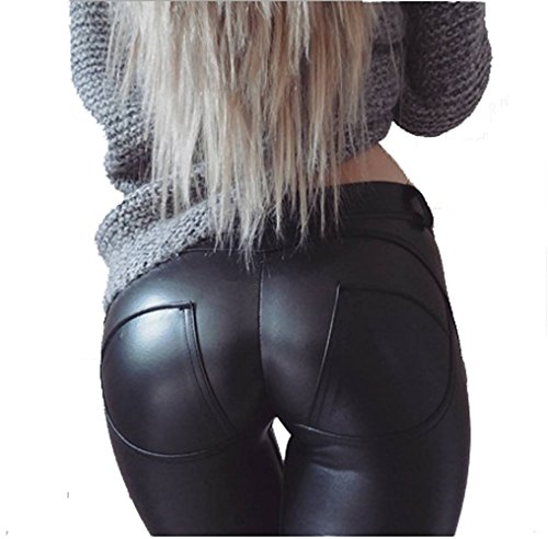 cooshional Damen Lederhose Stretch Skinny Leggings Kunstleder Hose