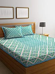 Boutique Bedding Queen Size Cotton 220TC Bedsheet with 2 Pillow Covers (Light Green, 235x225 cm)