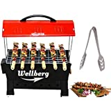 Wellberg Picnic Barbeque Grill with 4 Skewers Electric & Non Electric (2 in 1 BBQ) Red Iron Barbeque