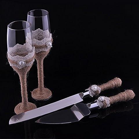 Élégant Champagne Verres à vin de mariage et couteau à gâteau serveur avec ensemble de toile de jute Dentelle rustique flûtes fantaisie Cadeau